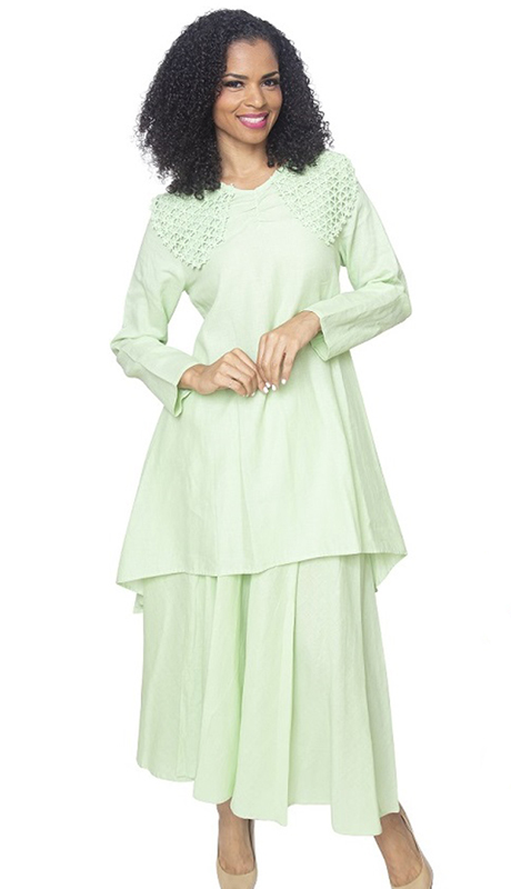 Ella Belle 8218-SA ( 2pc Womans Linen Suit With Lace Shoulders And Layered Skirt )