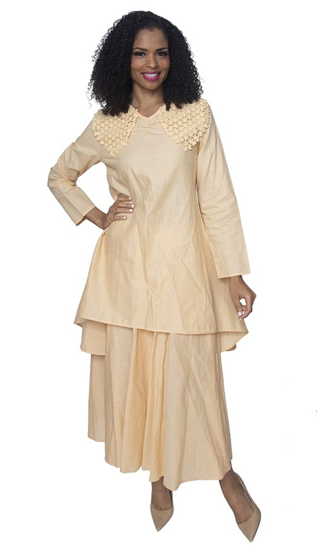 Ella Belle 8218-BA ( 2pc Womans Linen Suit With Lace Shoulders And Layered Skirt )