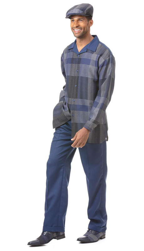 Montique 1822-NA ( 2pc Matching Long Sleeve Shirt And Pant Set )