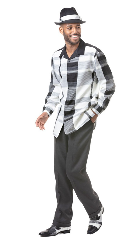 Montique 1823-BK ( 2pc Matching Long Sleeve Shirt And Pant Set )