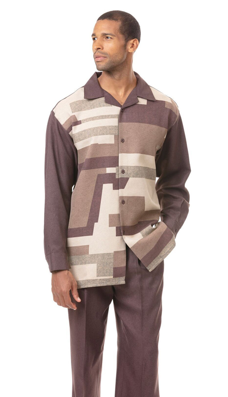 Montique 1821-BR ( 2pc Matching Long Sleeve Shirt And Pant Set )