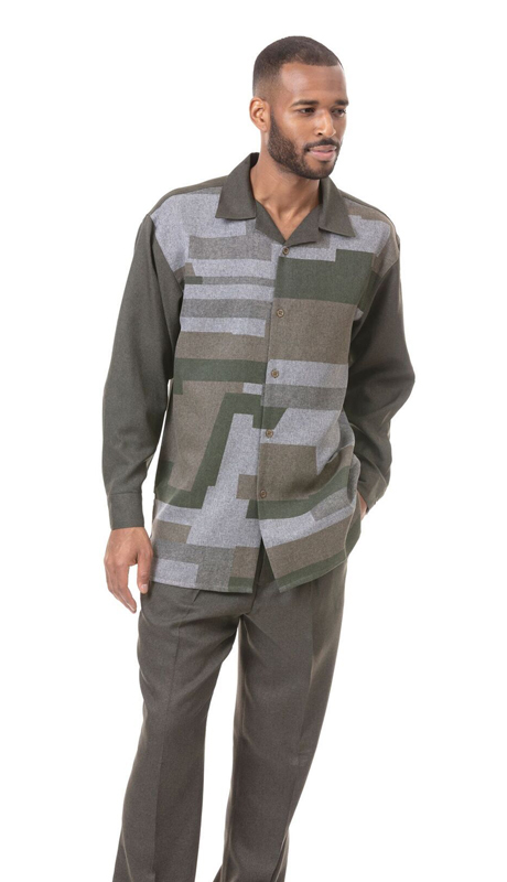 Montique 1821-OL ( 2pc Matching Long Sleeve Shirt And Pant Set )