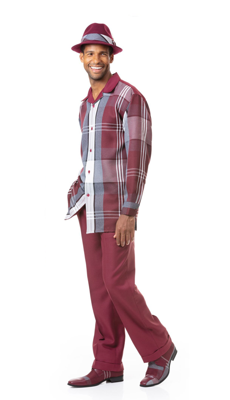 Montique 1817-WI ( 2pc Matching Long Sleeve Shirt And Pant Set )