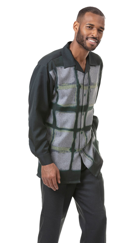Montique 1810-GR ( 2pc Matching Long Sleeve Shirt And Pant Set )