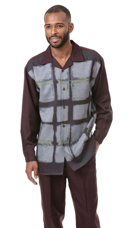 Montique 1810-BR ( 2pc Matching Long Sleeve Shirt And Pant Set )