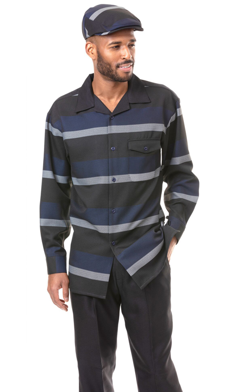 Montique 1826-NA ( 2pc Matching Long Sleeve Shirt And Pant Set )