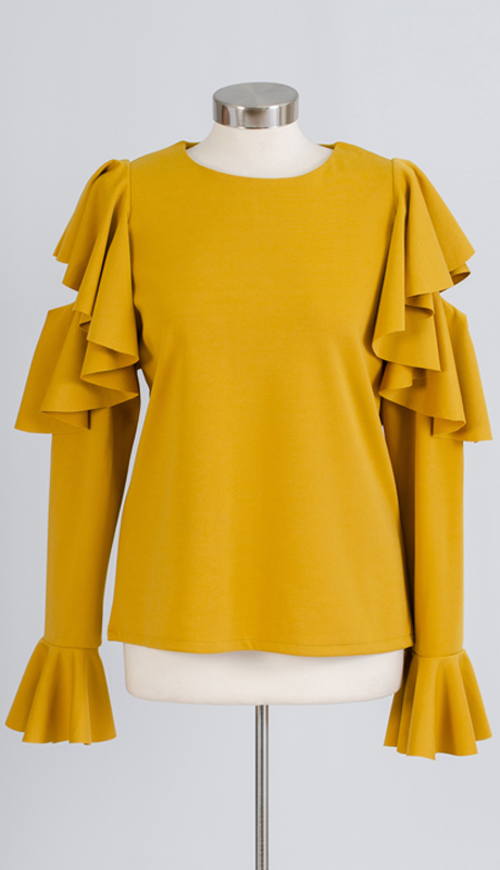 N By Nancy Collection A1870 ( 1pc Ruffled Sleeve Cold Shoulder Knit Top )