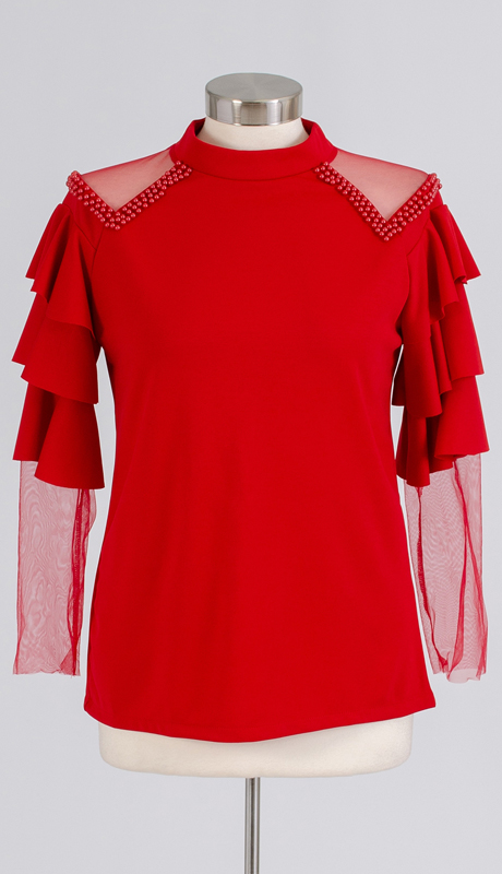 N By Nancy Collection A2008 ( 1pc Pearl Embellished Sheer Shoulder Top )