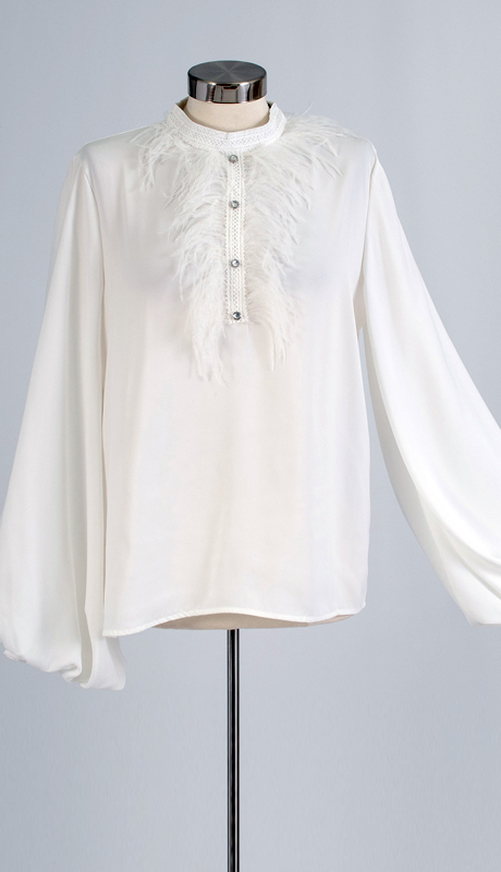 N By Nancy Collection SS09-WH ( 1pc Long Sleeve Feather Trim Top )