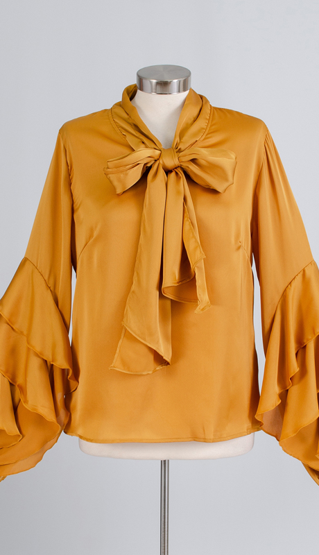 N By Nancy Collection SS02-YE ( 1pc Satin Ruffle Sleeve Top )
