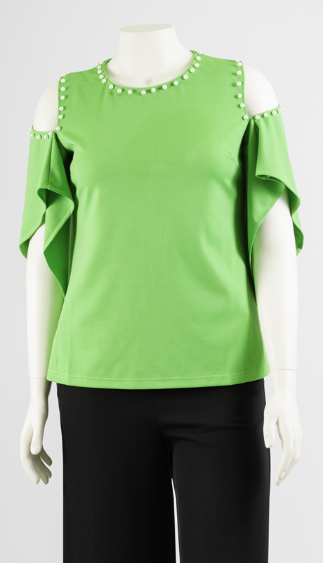 N By Nancy Collection K5012-GN ( 1pc Pearl Detail Wing Sleeve Top )