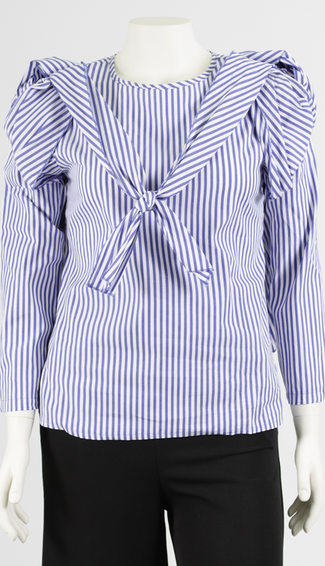 N By Nancy Collection H011-BL ( 1pc Shoulder Detail Stripe Top )