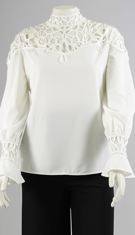 N By Nancy Collection X6783-WH ( 1pc Passementerie Yoke And Cuffs Top )