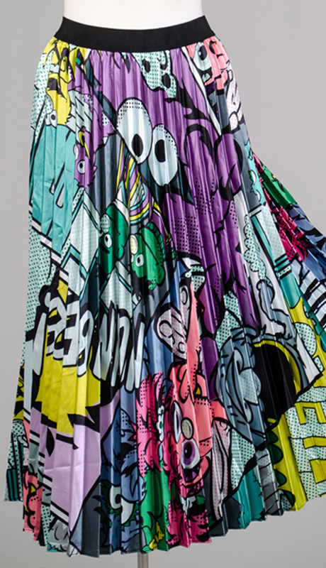 N By Nancy Collection A8085-MU ( 1pc Elastic Waist Pleated Pop Art Skirt )