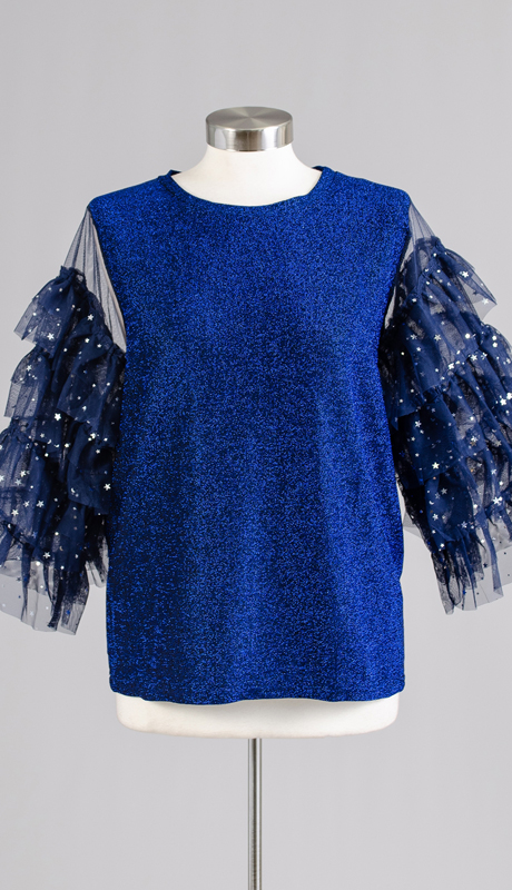 N By Nancy Collection C1862-BL ( 1pc Shimmer Star Tiered Ruffle Sleeve Top )