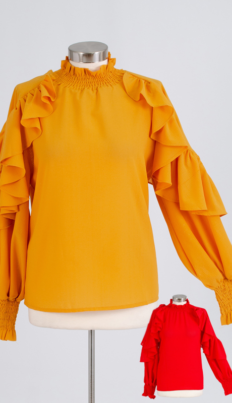 N By Nancy Collection A1875 ( 1pc Ruffle Sleeve Top )