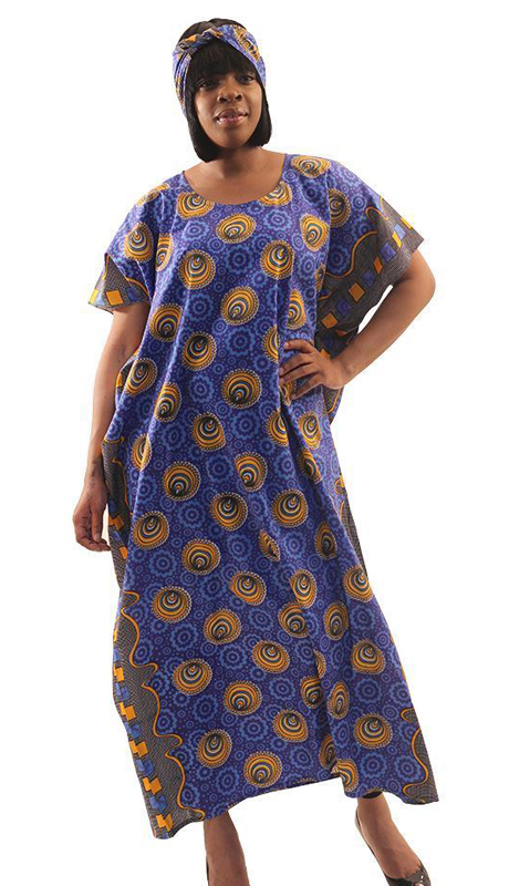 Heritage C-WH512-BP-CO ( 1pc Circle Print Flower Kaftan With Matching Headband )