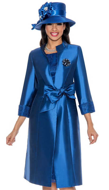Giovanna G1117-SA ( 2pc Silk Look Duster Jacket And Lace Dress With Rich Brooch )