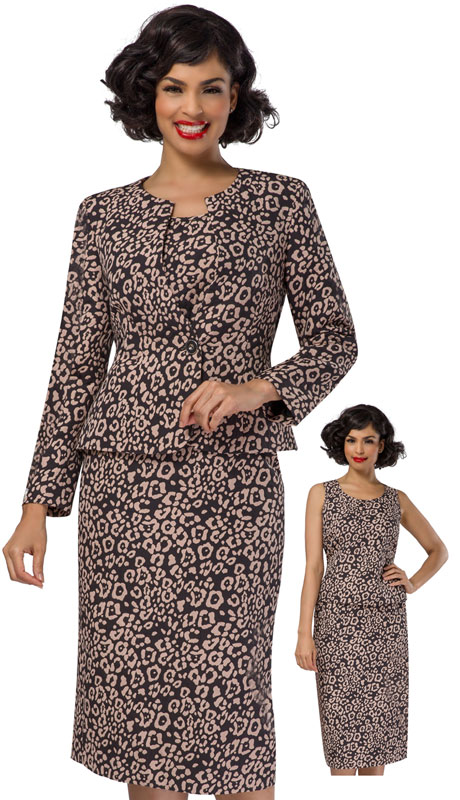 Giovanna S0713 ( 3pc Novelty Suit For Sunday With Elegant Button In Striking Print )