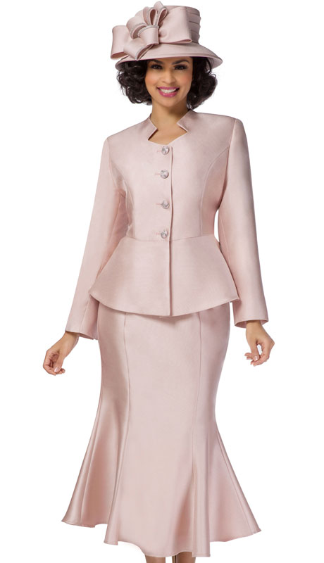 Giovanna G1116-PI ( 2pc Silk Look Suit For Church With Flare Skirt And Rhinestone Buttons )