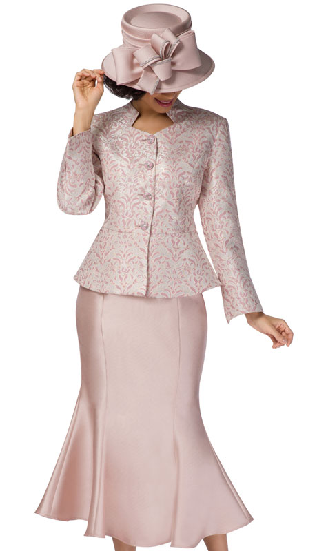 Giovanna G1116-PG-CO ( 2pc Brocade With Silk Look Solid Flare Suit For Church )