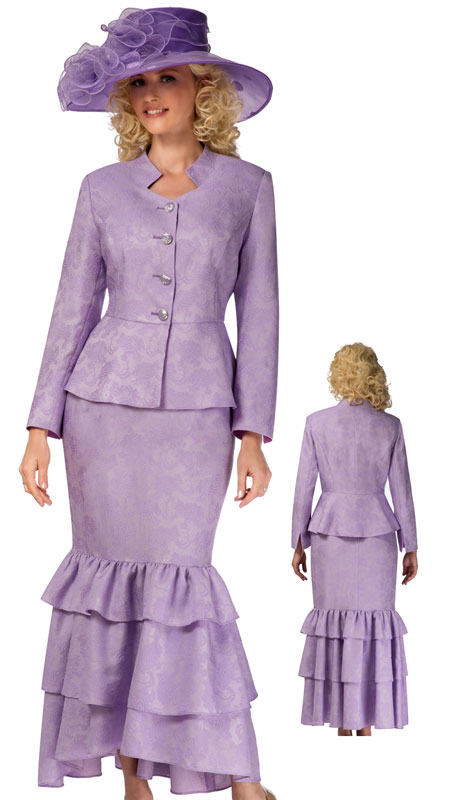 Giovanna G1101-LA-CO ( 2pc Brocade Ladies Church Suit With Ruffled Skirt And Peplum Jacket )