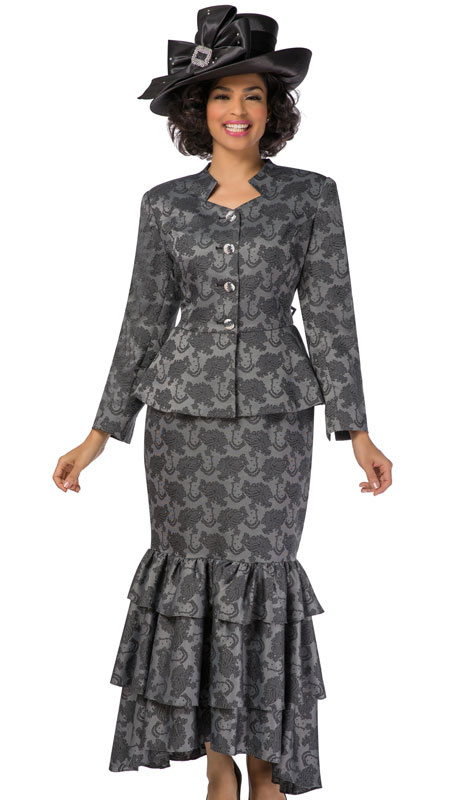 Giovanna G1101-BK ( 2pc Brocade Ladies Church Suit With Ruffled Skirt And Peplum Jacket )