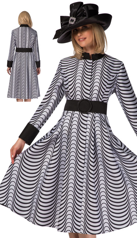 Giovanna D1516-BW ( 1pc Novelty Wave Repeat Print Dress  )