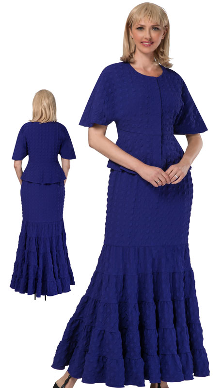 Giovanna 0942-PU ( 2pc Popcorn Short Sleeve Peplum Top And Skirt Set)