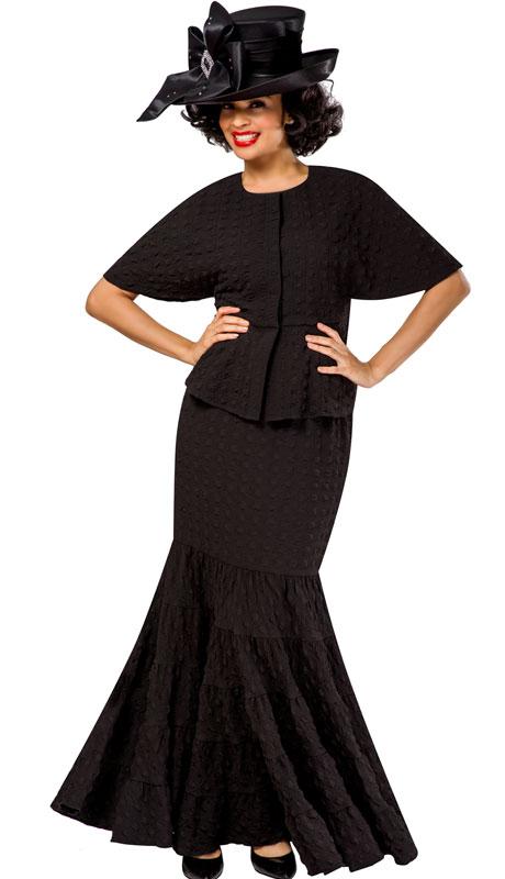Giovanna 0942-BK ( 2pc Popcorn Short Sleeve Peplum Top And Skirt Set )