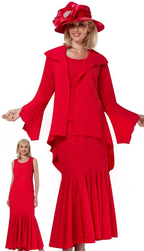 Giovanna 0940-RE ( 3pc Popcorn High Low Jacket, Vest & Skirt Set )