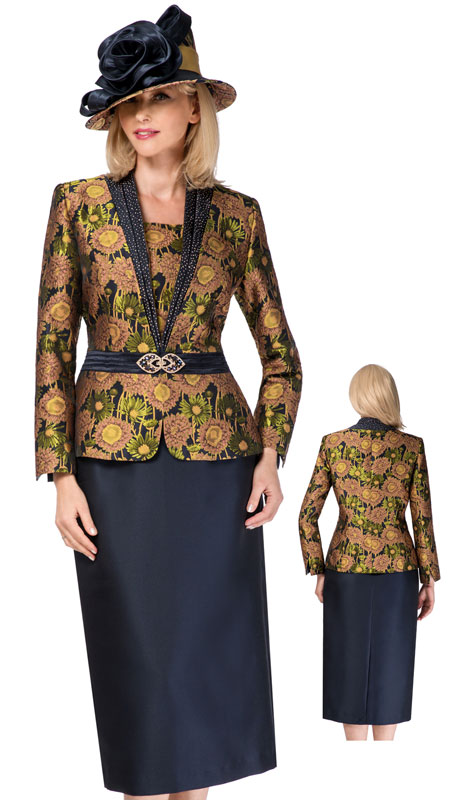 Giovanna 0932-NG ( 2pc Novelty Ladies Church Suit With Rhinestone Trim )