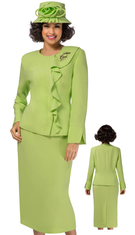 Giovanna 0931-LI ( 2pc PeachSkin Church Suit With Off Center Ruffle And Brooch )