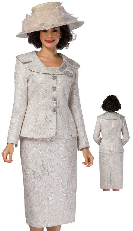 Giovanna G1119-CH ( 2pc Brocade Wide Collar First Lady Suit )
