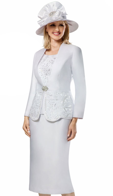 Giovanna G1088-WH ( 3pc Silk Look Womens Collarless Church Suit With Cutouts And Beading )