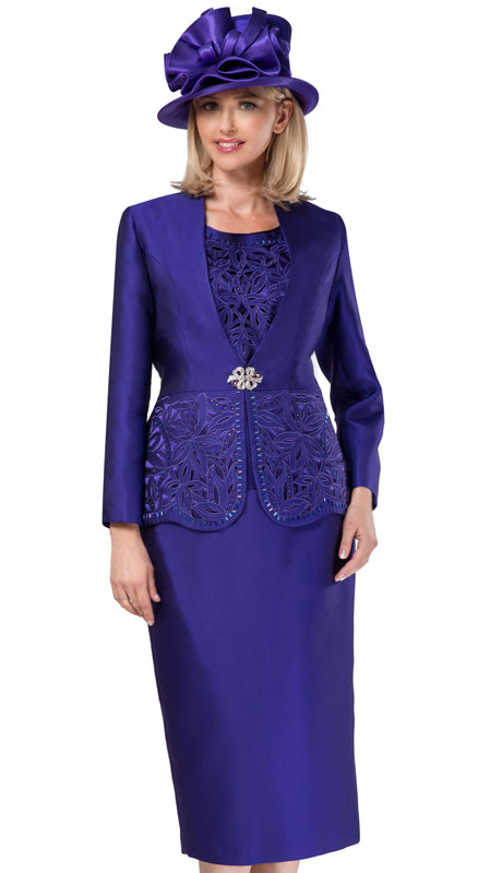 Giovanna G1088-PU-CO ( 3pc Silk Look Womens Collarless Church Suit With Cutouts And Beading )