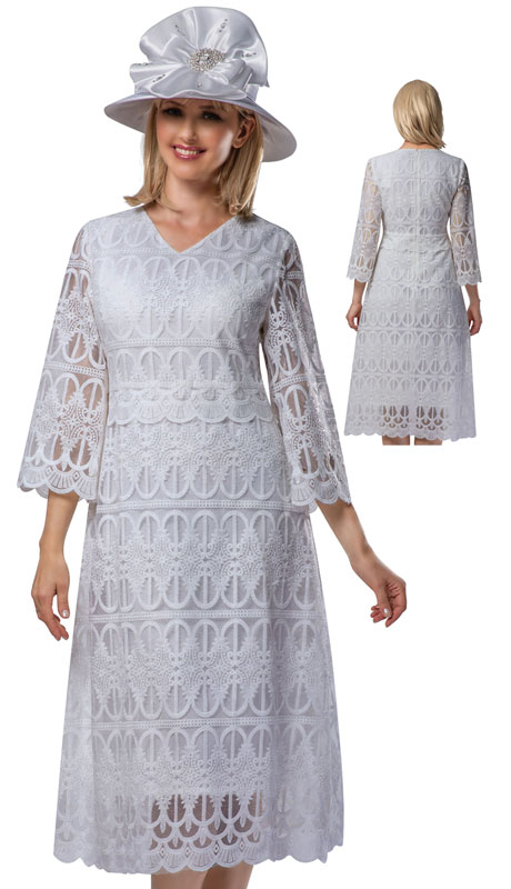 Giovanna D1520-WH ( 1pc Lace V-Neck Dress With Scallop Hems )