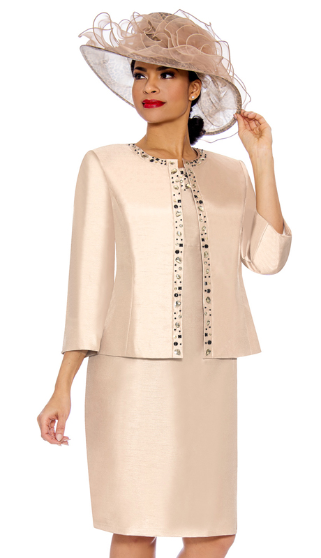 Giovanna 0901-LC ( 2pc Shantung Dress With Multi Color Gem Detailing On Jacket And Dress )