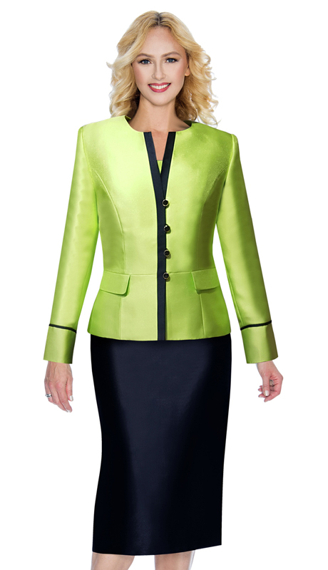 Giovanna G1091-LN ( 3pc Silk Look Ladies Church Suit In Two Tone Design )