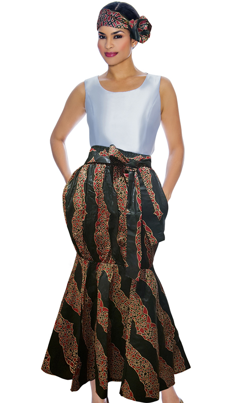 Giovanna P1013-BR ( 1pc Womens Skirt With Unique Print, Elastic Waist, Comes With Free Matching Headband )