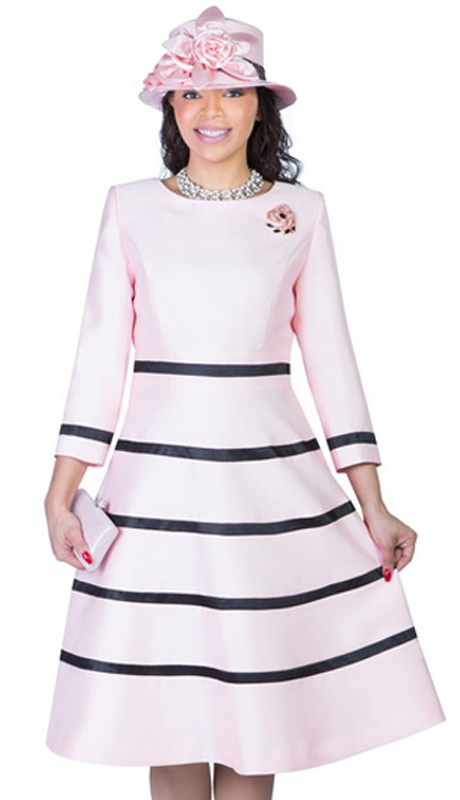 Giovanna 1446-PB  ( 1pc Silk Look Women Church Fit And Flare Dress With Stripe Design And Rhinestone Brooch )