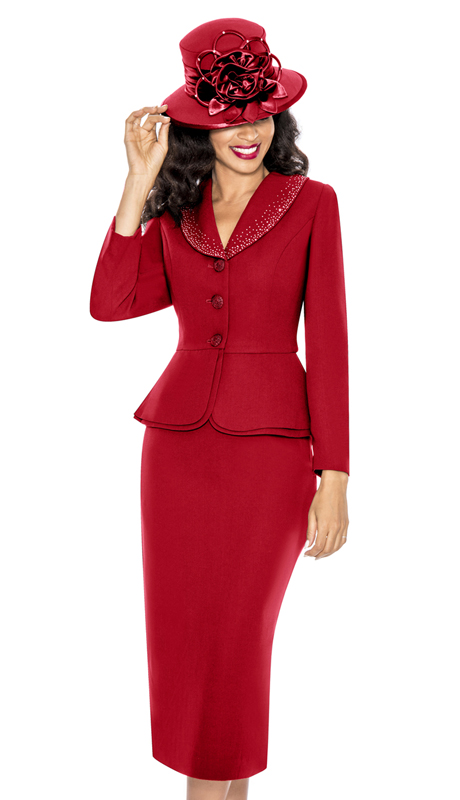Giovanna 0709-RE ( 2pc PeachSkin Church Suit With Layered Peplum Jacket And Rhinestone Trimmed Collar )