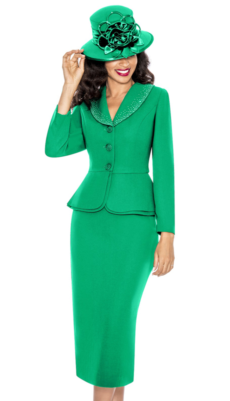 Giovanna 0709-EM ( 2pc PeachSkin Church Suit With Layered Peplum Jacket And Rhinestone Trimmed Collar )