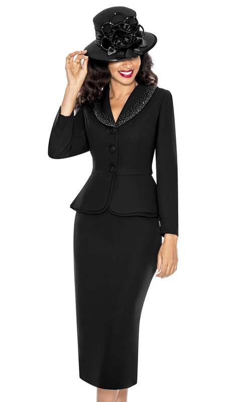 Giovanna 0709-BK ( 2pc PeachSkin Church Suit With Layered Peplum Jacket And Rhinestone Trimmed Collar )