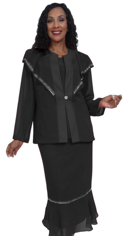 HD Couture 5034 ( 3pc Fully Lined Georgette Church Suit With Embellished Jacket With Elastic Waistband )