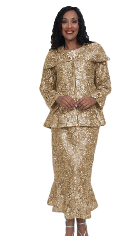 HD Couture 5006-G ( 3pc Fully Lined Lace Women Sunday Church Suit With Elastic Waistband )