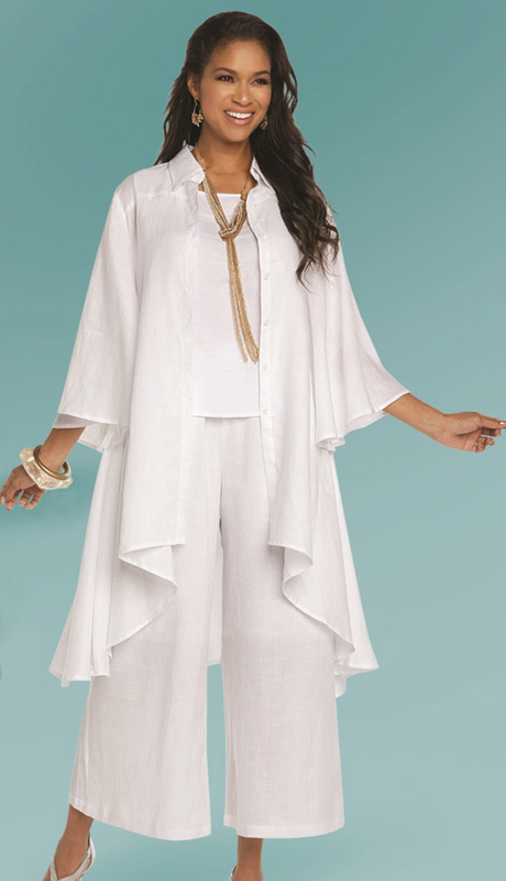 Lisa Rene 3338-WH ( 3pc Linen Jacket, Cami And Pant Set With Hi-Low Design )