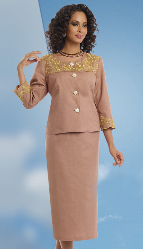 Lisa Rene 3306-TG ( 2pc Linen Skirt Suit With Elaborate Metallic Embroidery )