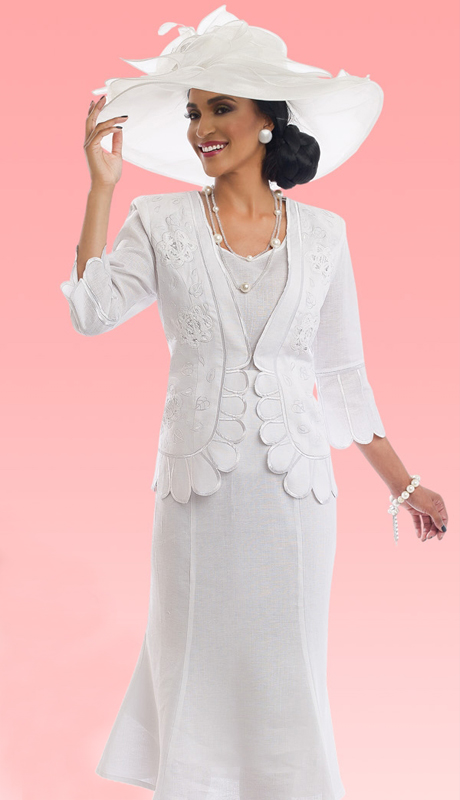 Lisa Rene 3304-WH ( 3pc Skirt Suit With Battenburg Lace Inset & Embroidery )