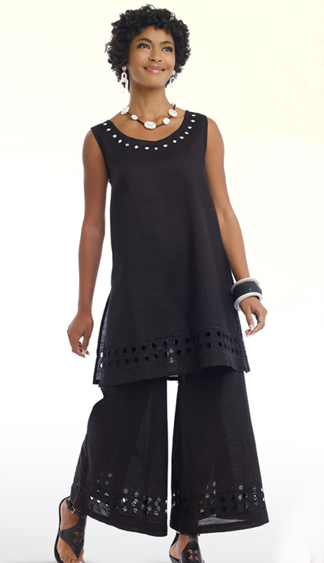 Lisa Rene 3317-BW ( 2pc Ladies Tunic And Pant Set With Cutout Embroidery )